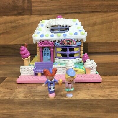 Vintage Polly Pocket Vanilla Ice Cream Parlor White Rare Variation 2 Figures