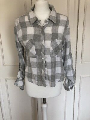 Super Soft Grey & White Check Crop Shirt By Rails - Small