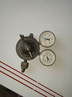 Vintage VICTOR EQUIPMENT COMPANY GAS REGULATOR Solid Brass Two Gages Psi 5411
