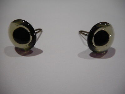 Collectors LIGHT COLOURED CHARCOAL10mm Shiny Teddy Bear Eyes with Loops x 1 pair