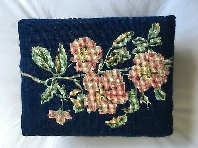 Pretty Old VINTAGE TAPESTRY Pink Floral ROSE NEEDLEPOINT Foot Stool
