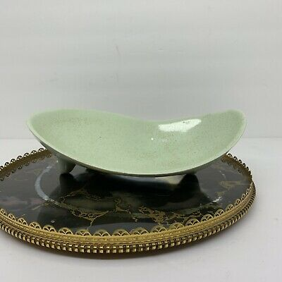 VTG MCM Kidney Bean Candy Dish Blue Speckle Atomic Era Footed 60s Retro Kitschy