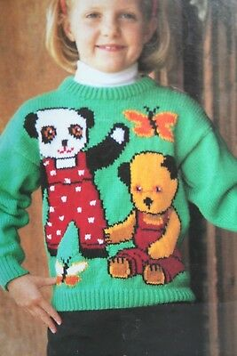 Girls/Ladies Jumper with Sooty, Soo and Butterfly Motif KNITTING PATTERN (MAC015