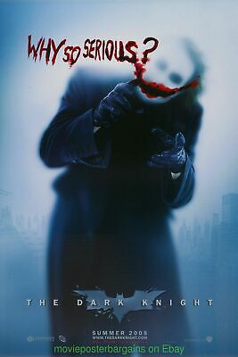DARK KNIGHT MOVIE POSTER DS 27x40 WHY SO SERIOUS ADVANCE STYLE NEAR MINT