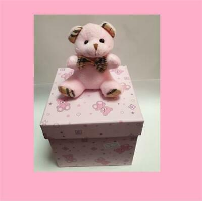 Baby Girl Pink Baby Shower Gift Box With Teddy On Top