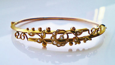 Stunning Antique Edwardian 9ct Gold Pearl Crescent & Floral Motif Bangle c1908