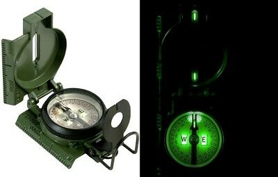 Olive Drab GI Military Special Tritium Lensatic Compass w/ Pouch