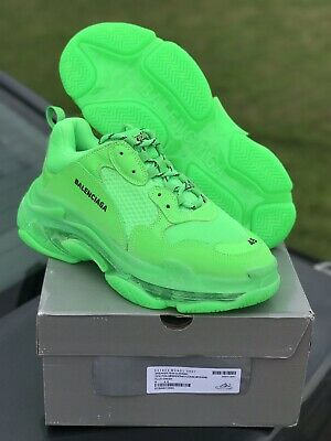 lace up in authentic best service BALENCIAGA TRIPLE S Sneakers Fluo Neon Green Sock Race ...