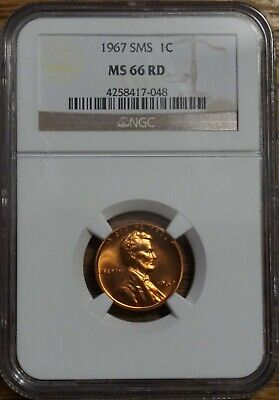 1967 Sms Lincoln Cent 1¢ - Graded By Ngc Ms-66 Red-#4258417-048