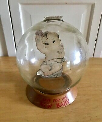 Vintage Save For New Baby GLASS BUBBLE BANK - Vic Moran.