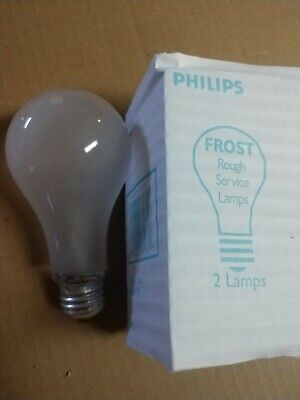 CASE OF 60 Philips 100A/RS/TF 120-130V Rough Service Lamps, 100W Silicone Coated