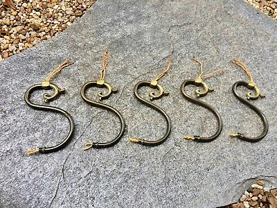 Set of Five Vintage Solid Brass Chandelier Arms Lamp Parts - Small