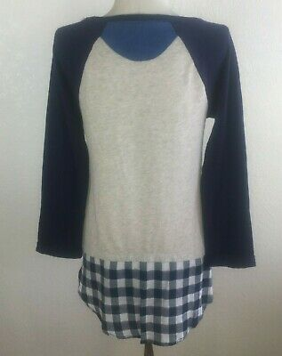 LITTLE YELLOW BUTTON ~ Anthropologie ~ Blue Oatmeal Plaid Mixed Media Top ~ Size