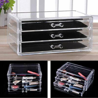 3 Drawers Acrylic Case Box Organizer Space Saving Cosmetic Jewelry Cube Storage