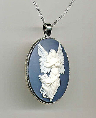 BEAUTIFUL Antique Silver GUARDIAN ANGEL Ivory Wings Blue CAMEO Pendant Necklace