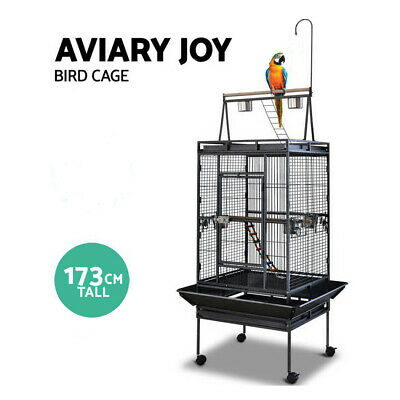 173cm Parrot Bird Cage Stand-Alone Perch Roof Black Budggie Finch Chatoo Cage