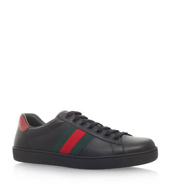 caf4c52c6 100% Authentic New Men Gucci New Ace Black Leather Gg Sneakers Uk 9/us