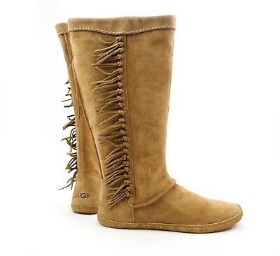 a0183ba2a78 UGG AUSTRALIA MAMMOTH Chestnut Suede Tall Fringe Moccasin Boots 1008812 US  12