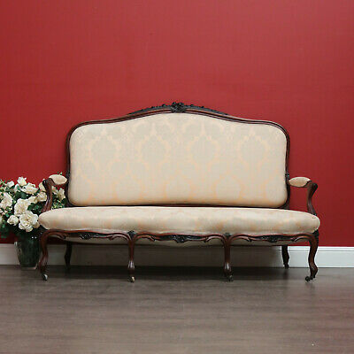 Antique French Carved Rosewood and Fabric Sofa Settee Chaise Lounge Armchair