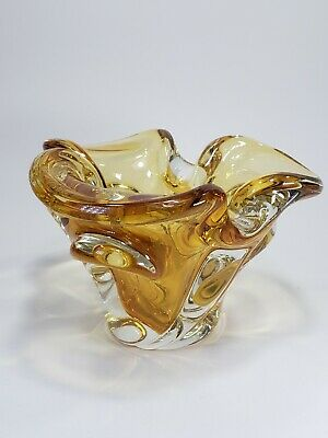 Vintage Mid Century Early Style Chalet Glass Amber Candy Dish Ashtray Canada