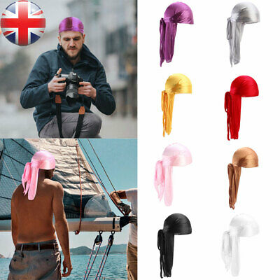 New Unisex Men Women Bandana Durag Headwear Soft Silk Pirate Cap Wrap Fashion UK