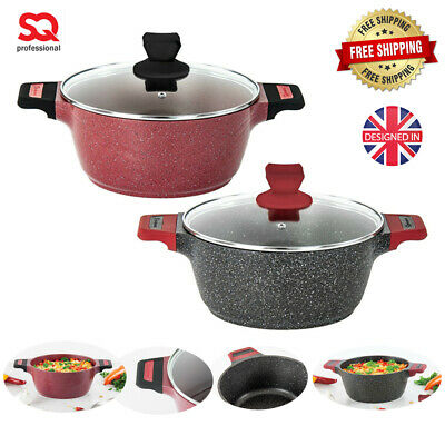 Non Stick Marble Coated Cooking Pot Pan INDUCTION Cookware Stockpot Casserole