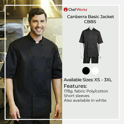 Chef Works Canberra Basic Jacket Black Short Sleeve Jacket Restaurant Hotel Cafe