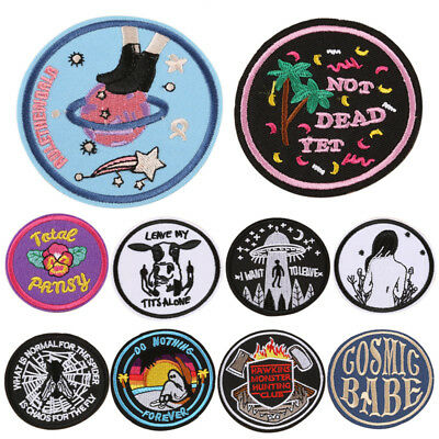 DIY Embroidery Patches Sew On Iron On Badge Applique Bag Craft Sticker Transf fd