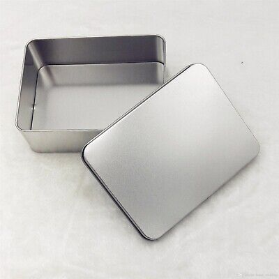 Metal Tin Rectangular Storage Empty Box Crafts Organizer Container Silver