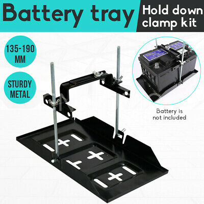 342x200mm Universal Car Battery Tray Clamp Bracket Metal Holder Large Adjustable