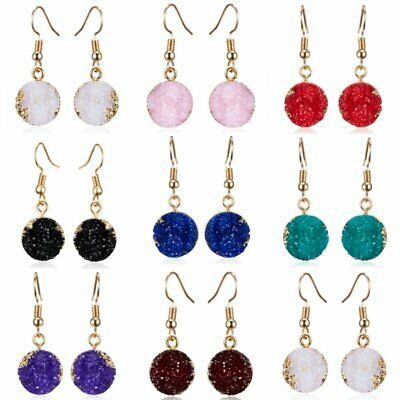Natural Stone Crystal Rhinestone Geometry Round Resin Drop Dangle Earrings Gift
