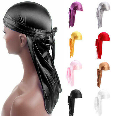 Unisex Men Womens Bandana Doo Durag Headwear Long Tail Soft Silk Pirate Cap Wrap