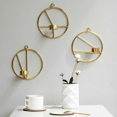 3D Geometric Candlestick Metal Hanging Wall Mounted Candle Holder Home Decor