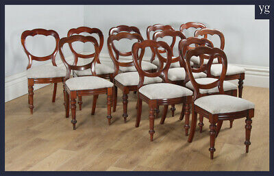 Antique Victorian Set of 12 Twelve Mahogany Balloon Crown Back Dining Chairs