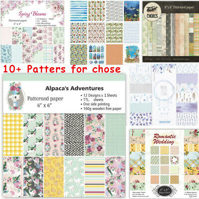 "24 Sheets 6"" Scrapbooking Pad Paper Origami Art Background Card Making DIY Craft"