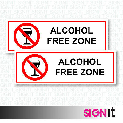 Alcohol Free Zone - No Alcohol Sign Vinyl Sticker (50mm x 150mm)