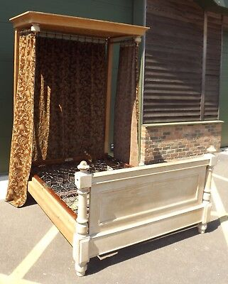 Antique C19th Pine Double Half Tester Bed - With Some Alteration, Needs TLC