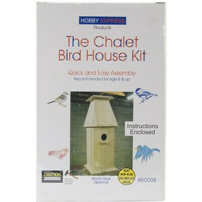 Pinepro Unfinished Wooden Bird House Kit, Chalet - Wood Kit