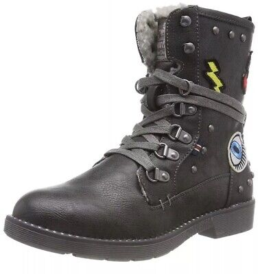 Mustang Girls'' Schnür-Booty Ankle Boots Grey (Graphit 259) 4 UK 37 EU