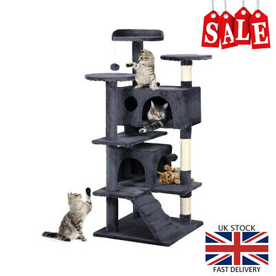 Cat Kitten Scratching Post Tower Tree Pet Palace Grey Play Bed Sleeping Large