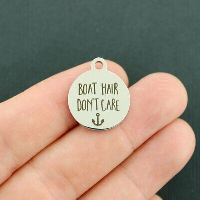 Boat Hair Don't Care Stainless Steel Charms - Quantity Options - BFS1272