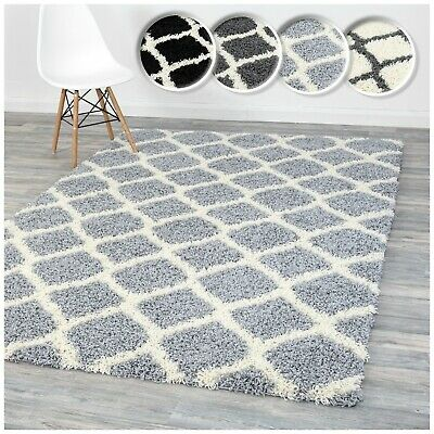 A2Z Rug Soft Luxury Fluffy Shaggy Rugs Modern Trellis Area Carpets 5CM Shag Pile