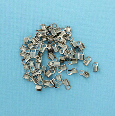 20 Stainless Steel Ribbon End Caps Textured Crimp Beads 25mm x 7mm FD482