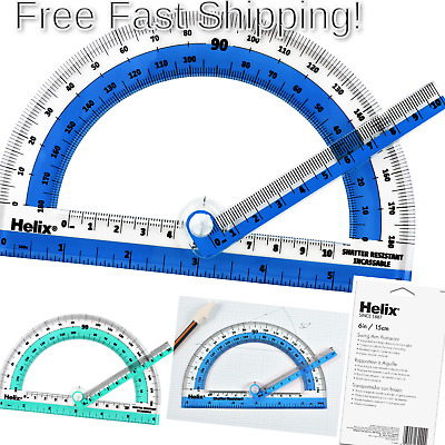 "Helix 180° Shatter Resistant Swing Arm Protractor 6"" / 15cm (60009) 180 Degree"