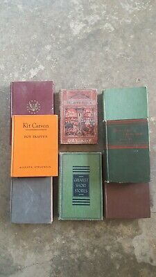 Lot of 8 Vintage Antique Hardcover Books Mixed Color Random/Unsorted Kit Carson