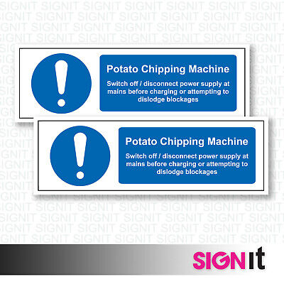 Potato Chipping Machine - Safety Sign Vinyl Sticker (50mm x 150mm)