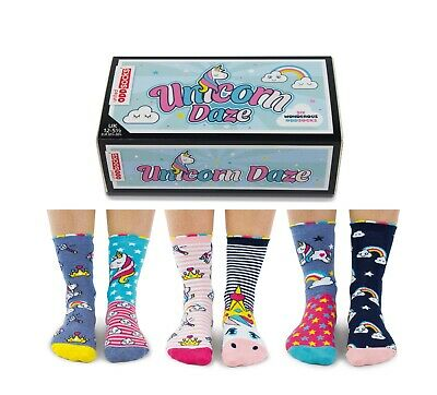 "United Oddsocks ""Unicorn Daze"" UK Size 12-5.5 Set Of 6 Girls Socks"