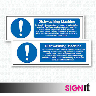 Dishwashing Machine - Safety Sign Vinyl Sticker (50mm x 150mm)
