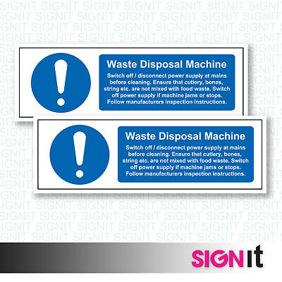 Waste Disposal Machine - Safety Sign Vinyl Sticker (50mm x 150mm)