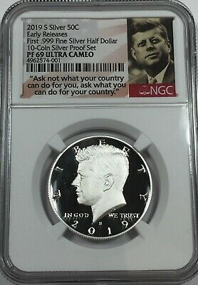 2019-S NGC PF69 .999 SILVER KENNEDY HALF DOLLAR PROOF tcs 69 EARLY RELEASES